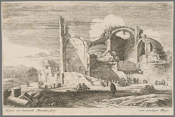 Herman van Swanevelt - Krajina s rozvalinami antických kúpeľov.