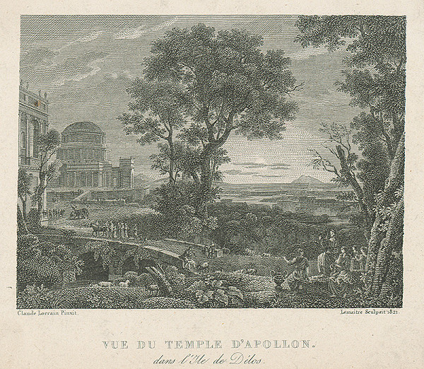 Augustin François Lemaître, Augustin Francois Lamaitre, Claude Lorrain, Claude Larain - Vue de Temple d`Ápollon dans lílle de Délos