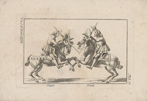 Západoeurópsky autor z 18. storočia – Súboj štítom a mečom na koňoch