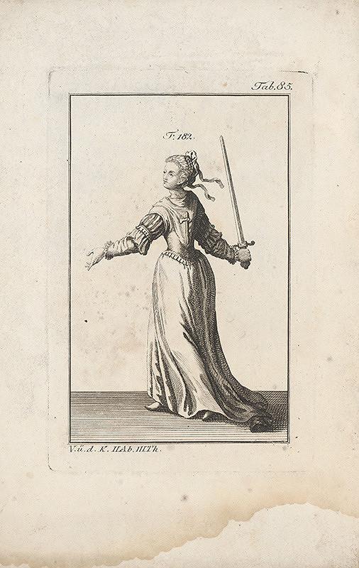 Západoeurópsky autor z 18. storočia – Dáma s mečom