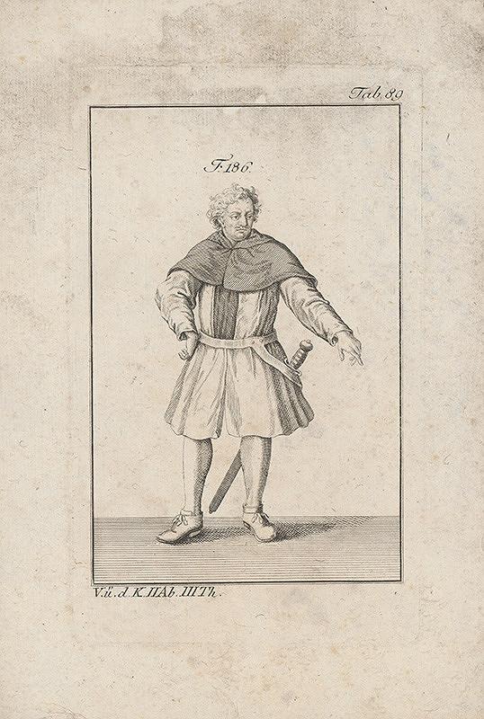 Západoeurópsky autor z 18. storočia – Rytier v suknici a krátkom pláštiku