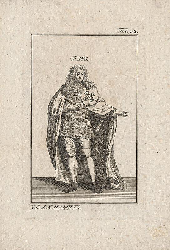 Západoeurópsky autor z 18. storočia – Šlachtic v brokátovom kabáte a plášti