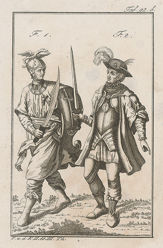 Západoeurópsky autor z 18. storočia – Dvojica rozlične ozbrojených rytierov