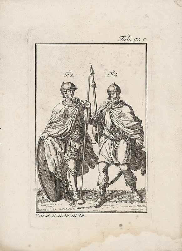 Západoeurópsky autor z 18. storočia – Dvojica rytierov -prvý s madonou,druhý s päťcípou hviezdou na plášti