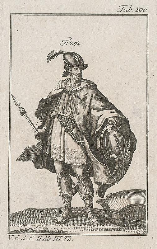 Západoeurópsky autor z 18. storočia – Rytier so skríženým mečom na štíte