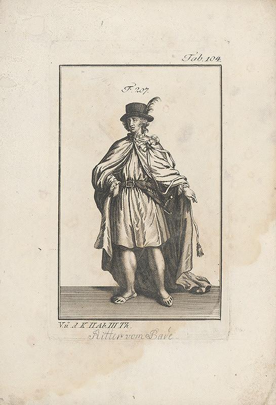 Západoeurópsky autor z 18. storočia – Rytier v klobúku a v plášti so stuhou