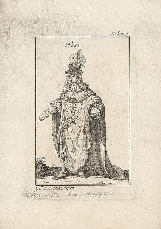 Západoeurópsky autor z 18. storočia – Šlachtic s dvoma maltézskymi krížmi a plamienkom