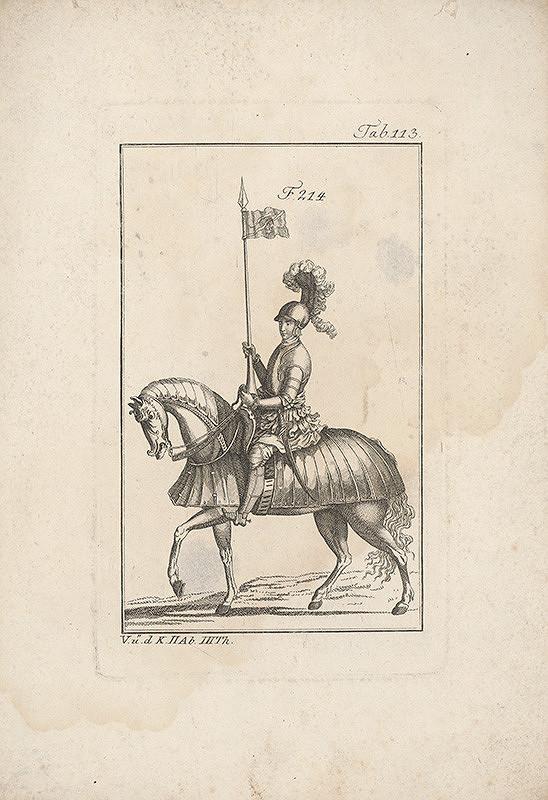 Západoeurópsky autor z 18. storočia - Rytier na koni s odznakom hada a hviezdy