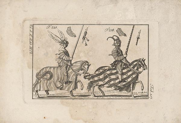 Západoeurópsky autor z 18. storočia – Dvaja turnajoví rytieri:Prvý s okrídleným vencom, druhý s rohami na prilbici
