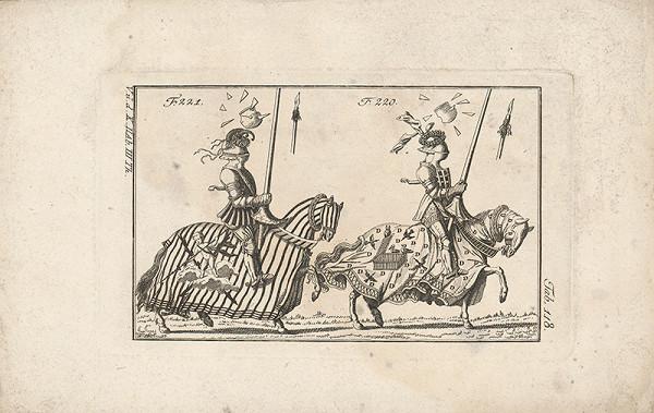 Západoeurópsky autor z 18. storočia – Dvaja turnajoví rytieri:prvý s dopredu obrátenými baraními rohami,druhý s vencom