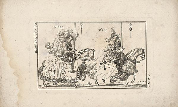 Západoeurópsky autor z 18. storočia – Dvaja turnajoví rytieri:prvý s bohatým chocholom,druhý s chocholom a vencom na p