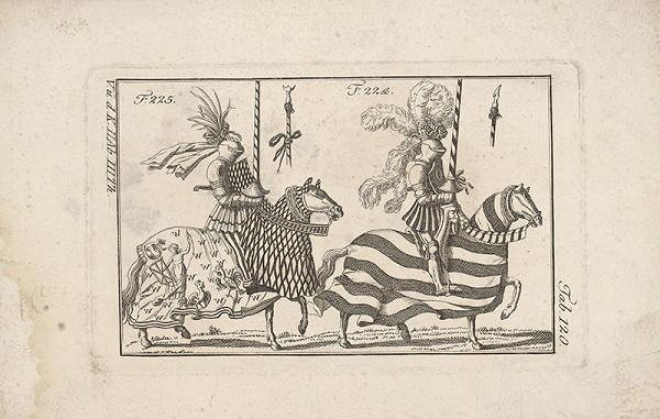 Západoeurópsky autor z 18. storočia – Dvaja turnajoví rytieri:Prvý s vencom a fábormi,druhý s vencom na bohatom chocho