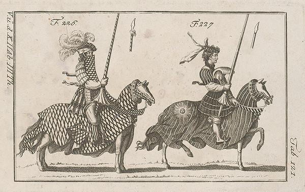 Západoeurópsky autor z 18. storočia – Dvaja turnajoví rytieri:prvý s vencom na čiapke zdobenej perami,druhý s vencom