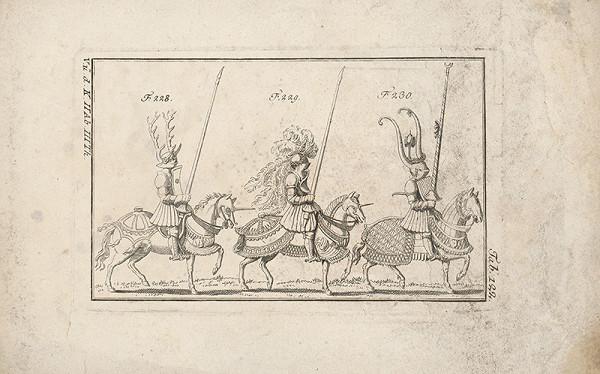 Západoeurópsky autor z 18. storočia – Traja turnajoví rytieri:prvý s parožím,druhý s chocholom a vencom,tretí s vysoký