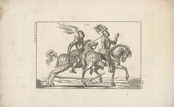 Západoeurópsky autor z 18. storočia – Turnajoví jazdci zápasiaci hákom