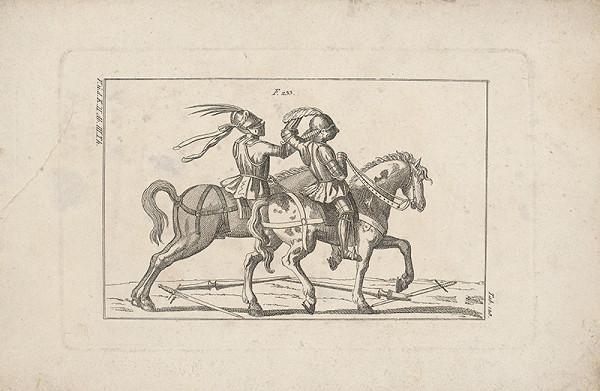 Západoeurópsky autor z 18. storočia – Turnajoví jazdci zápasiaci rukami