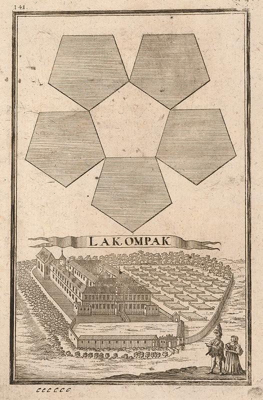 Gabriel Bodenehr st., Justus van den Nypoort – Geometrická figúra a pohľad na kaštieľ Lakompak (Lackenbach)