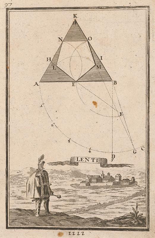 Gabriel Bodenehr st., Justus van den Nypoort – Geometrická figúra a pohľad na pevnosť Lenti