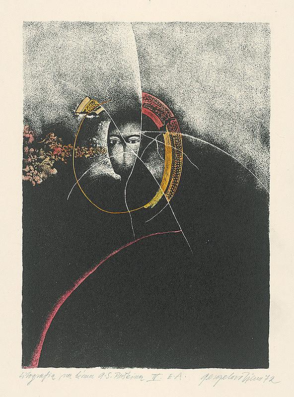 Viera Gergeľová – Litografia na tému A.S.Puškina 4.