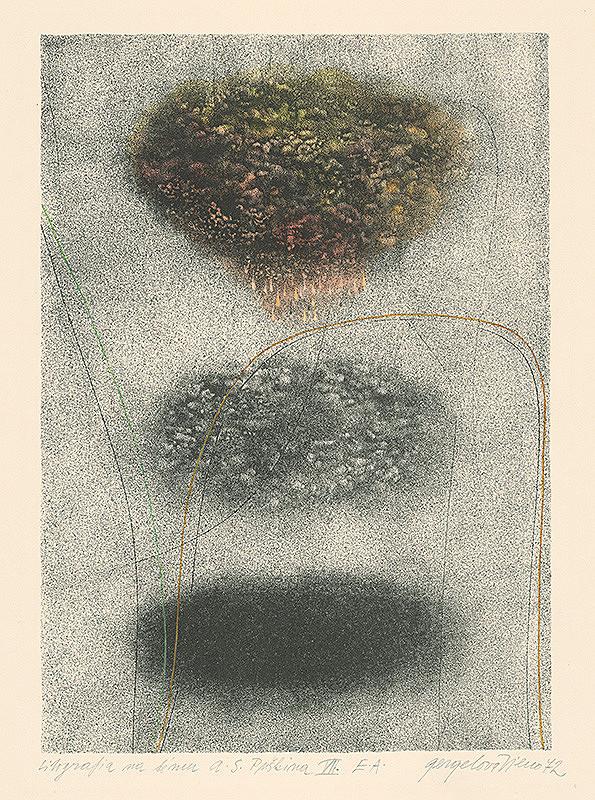 Viera Gergeľová - Litografia na tému A.S.Puškina 7.