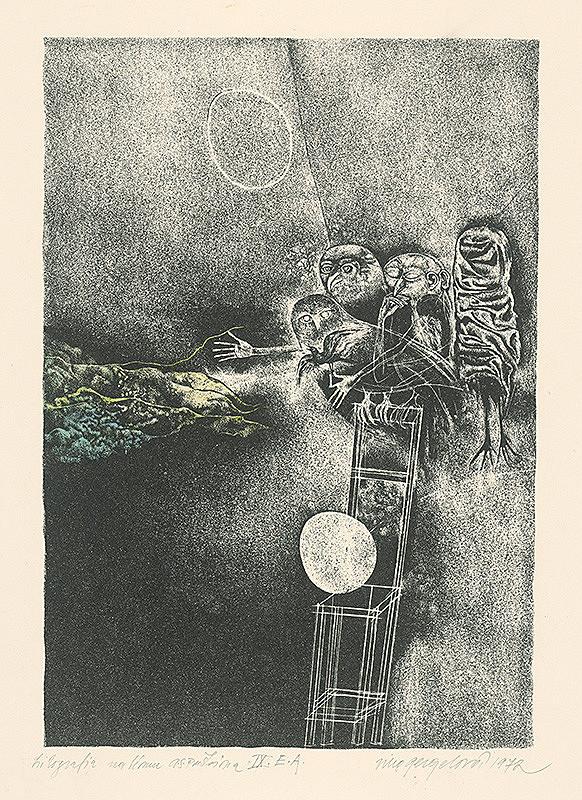 Viera Gergeľová - Litografia na tému A.S.Puškina 9.