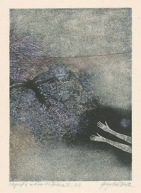 Viera Gergeľová - Litografia na tému A.S.Puškina 12.