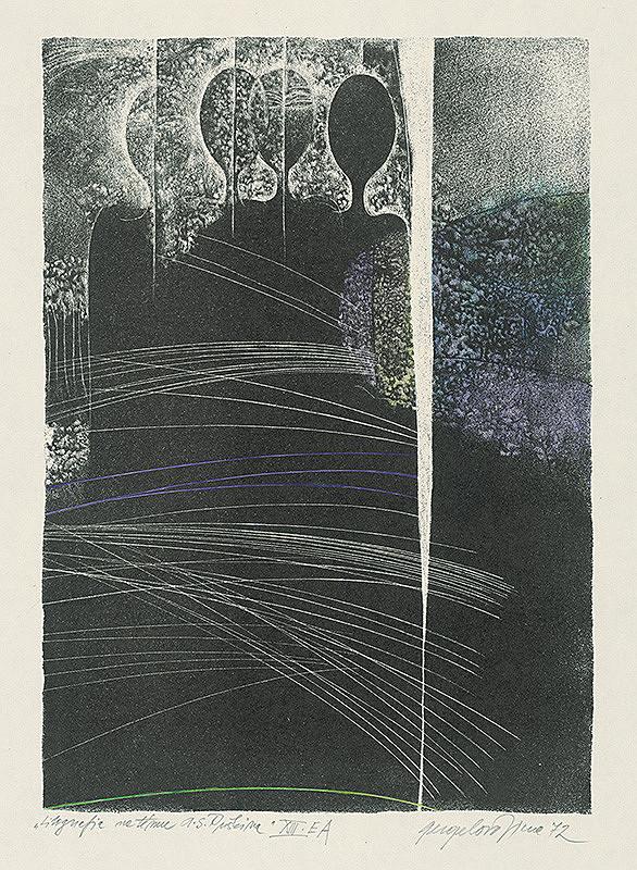 Viera Gergeľová - Litografia na tému A.S.Puškina 13.