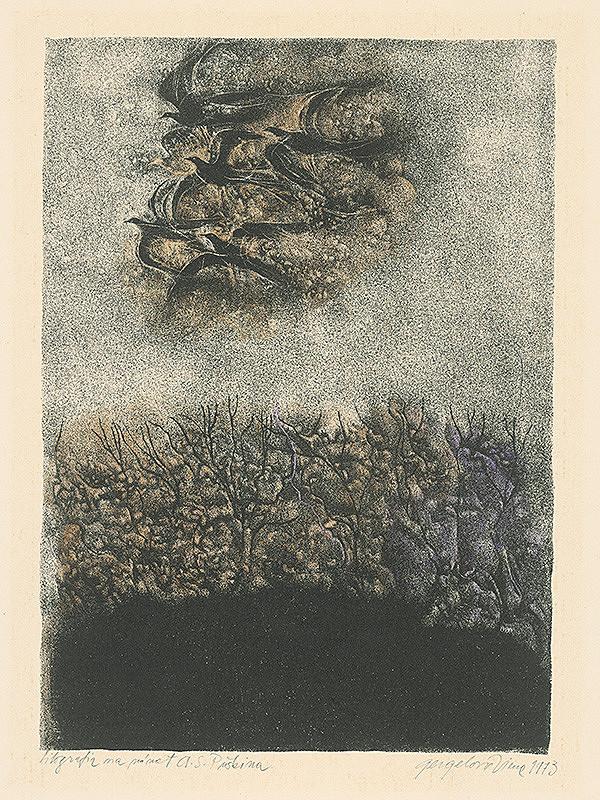 Viera Gergeľová - Litografia na námet A.S.Puškina