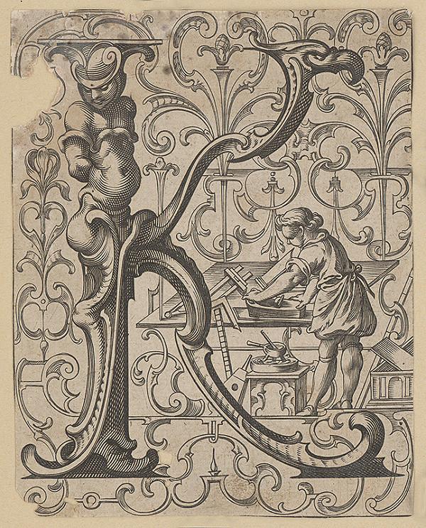 Stredoeurópsky grafik zo 16. storočia – Iniciála K SO stolárom