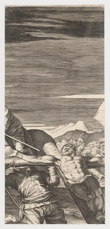 Marcus Sadeler, Jacopo Tintoretto - Fragment s lotrom po pravici