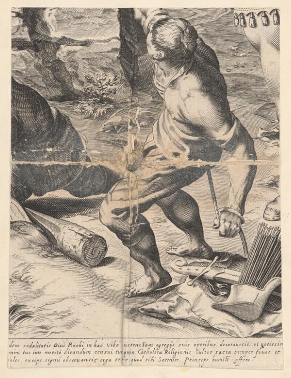 Marcus Sadeler, Jacopo Tintoretto - Fragment s mužom ťahajúcim povraz