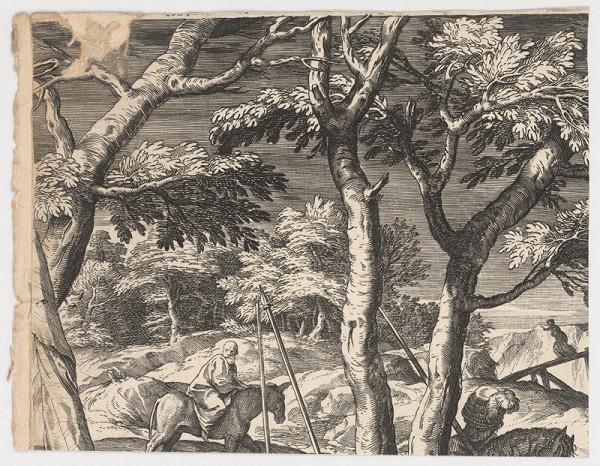 Marcus Sadeler, Jacopo Tintoretto – Fragment krajiny so starcom cestujúcom na somárovi