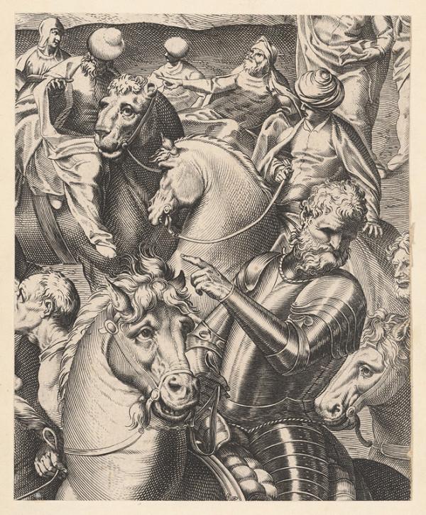 Marcus Sadeler, Jacopo Tintoretto - Fragment s jazdcom v brnení