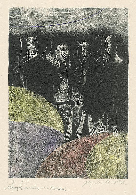 Viera Gergeľová - Litografia na tému A.S.Puškina 3.