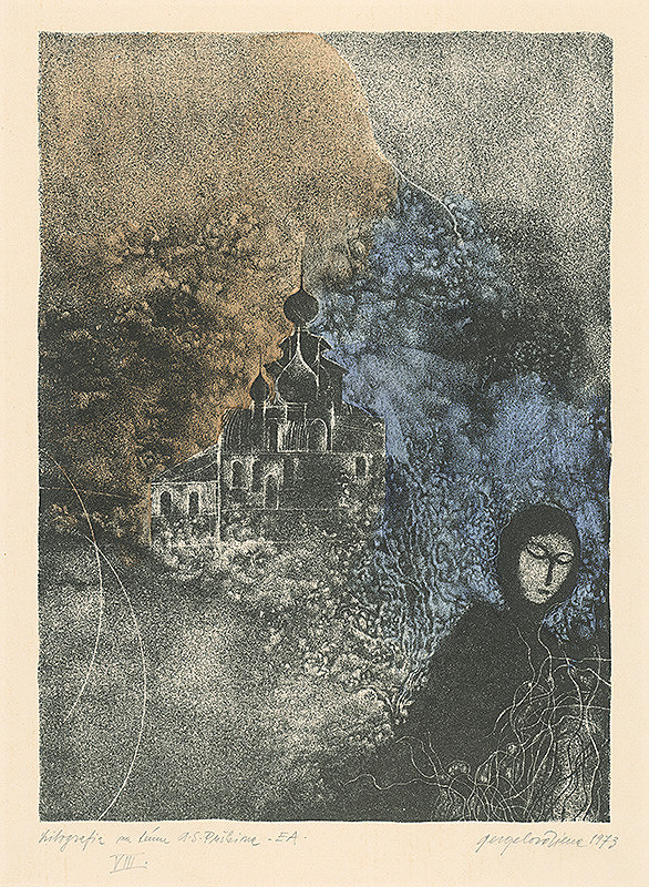 Viera Gergeľová - Litografia na tému A.S.Puškina 8.