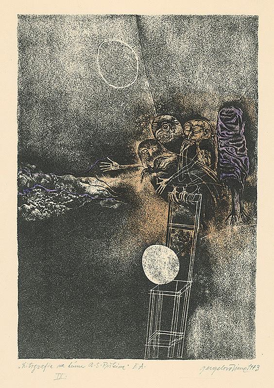 Viera Gergeľová – Litografia na tému A.S.Puškina 9.