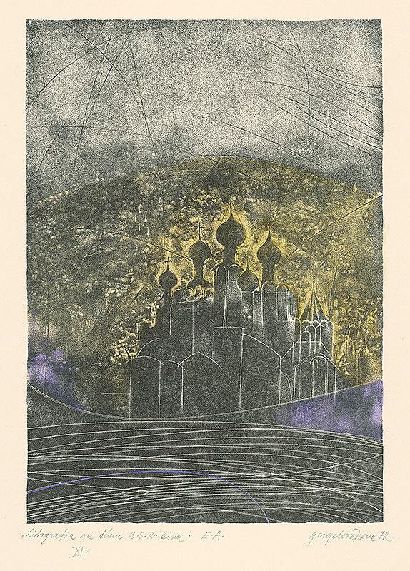 Viera Gergeľová – Litografia na tému A.S.Puškina 11.