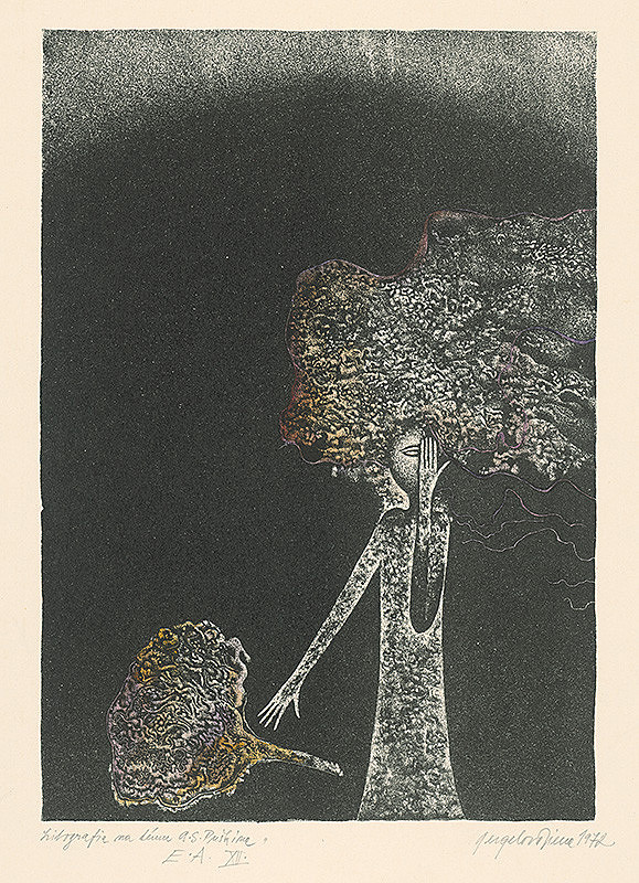 Viera Gergeľová – Litografia na tému A.S.Puškina 12.