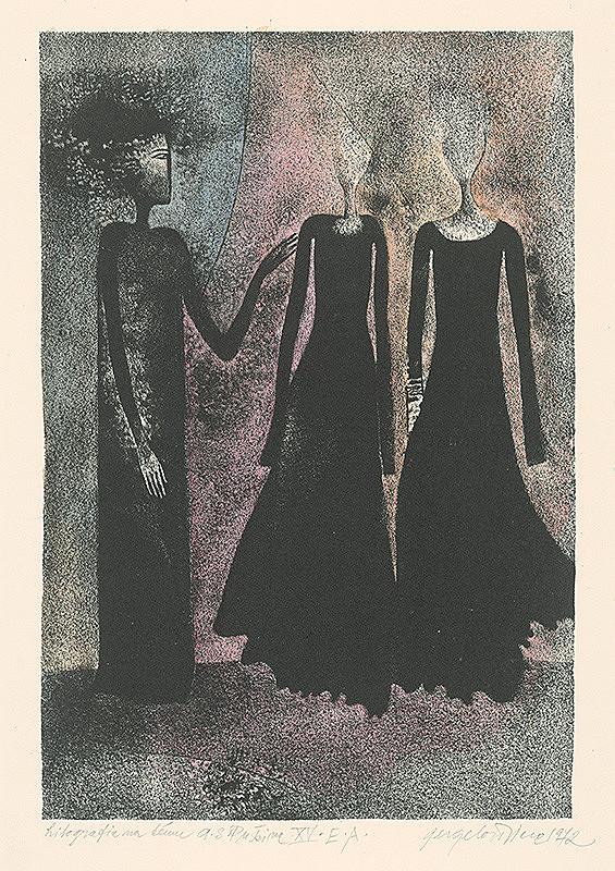 Viera Gergeľová - Litografia na tému A.S.Puškina 15.