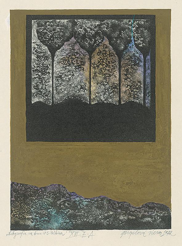 Viera Gergeľová – Litografia na tému A.S.Puškina 16.