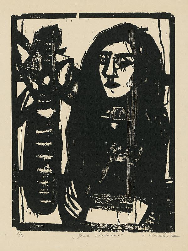 Vincent Hložník - Žena s kyticou