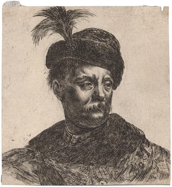 Stefano della Bella – Portrét muža v čiapke s ozdobou z račieho peria