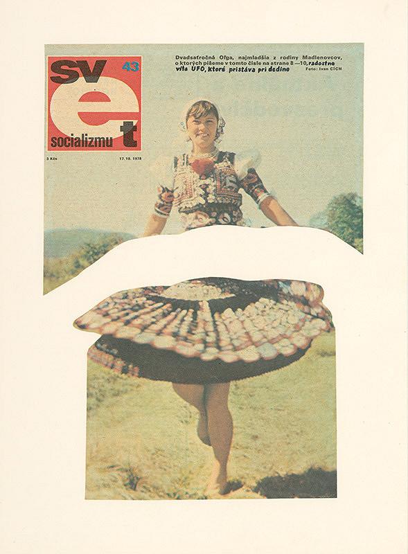 Július Koller – Svet socializmu. (Dvadsaťročná Oľga, najmladšia z rodiny.... radostne víta UFO, ktoré pristálo pri dedine)