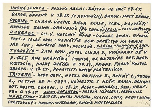 Július Koller - Archív JK/Orava (kartičkový rešerš) V.