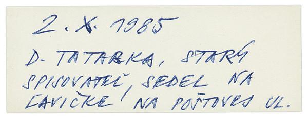 Július Koller - Archív JK/D. Tatarka, starý spisovateľ...
