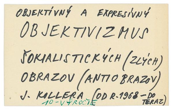 Július Koller - Archív JK/Od mája 1978:...