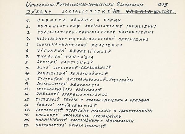 Július Koller – Archív JK/UFO (Zásady socialistickej kultúry)