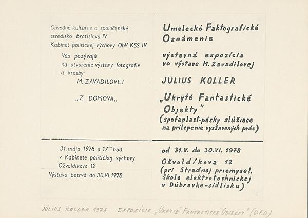 """Július Koller – Archív JK/Expozícia """"Ukryté Fantastické Objekty"""" (U.F.O.)"""