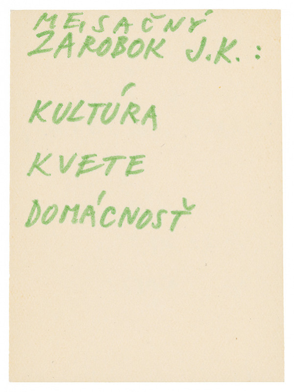 Július Koller - Archív JK/Mesačný zárobok J.K.: