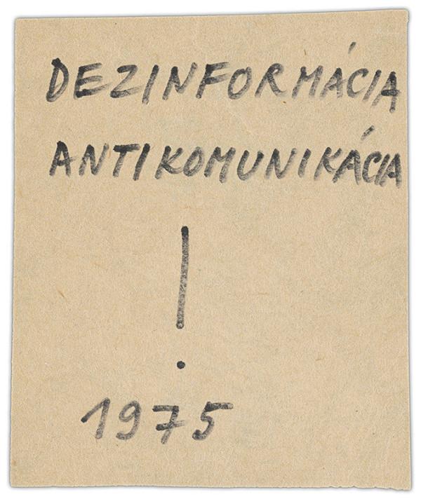 Július Koller - Archív JK/Dezinformácia antikomunikácia